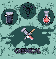 Chemical flat concept icons vector