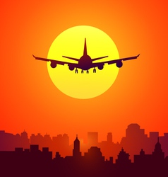 City sunset and afternoon flight vector