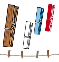 clothespin and rope vector image vector image