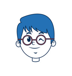 Cute boy face wear glasses with blue hair vector