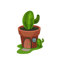 Fantasy house in form of green cactus in pot home vector