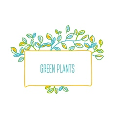 Green leaves design element in hand drawn relaxed vector