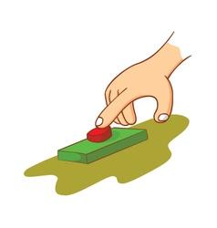 Hand touching a button vector