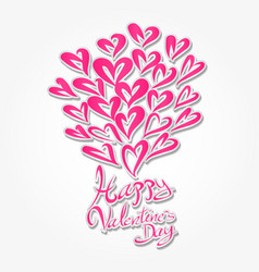 Happy valentines day hand drawn brush lettering vector