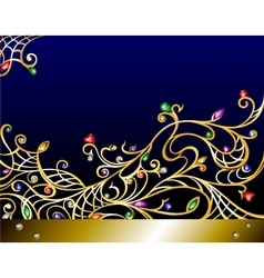 horizontal gold jewerly background with gems vector image