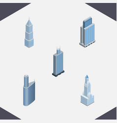 Isometric skyscraper set of exterior building vector