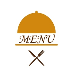 Menu text in cloche with flatware beneath vector image