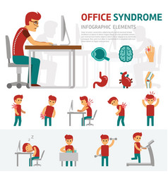 office syndrome infographic elements man works on vector image vector image