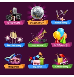 Party emblems set vector