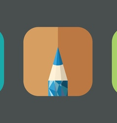 Polygonal Pencil Icons with geometrical figures vector image vector image