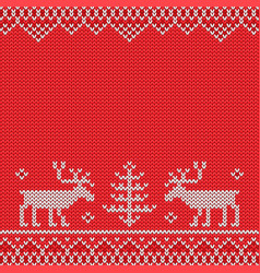 red knitted sweater with deer knitted pattern vector image vector image