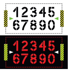 Set of numbers in classic stencil printing style vector
