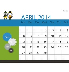 Simple 2014 calendar April vector image vector image