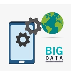 Smartphone gears planet and big data design vector