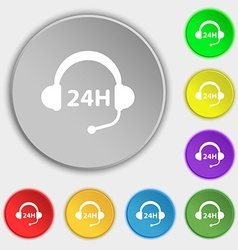 Support 24 hours icon sign symbol on eight flat vector