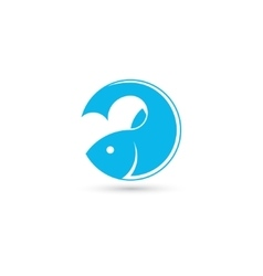 Template of round logo with fish vector image vector image