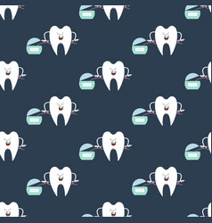 tooth and dental floss pattern vector image vector image