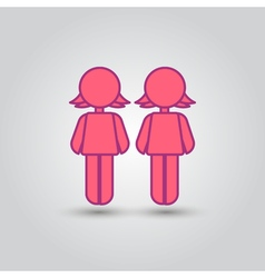Two female stick figures standing beside each vector