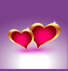 Two realistic hearts in gold metal frames vector