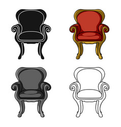 wing-back chair icon in cartoon style isolated on vector image