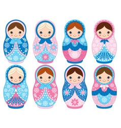 Winter matryoshka set vector
