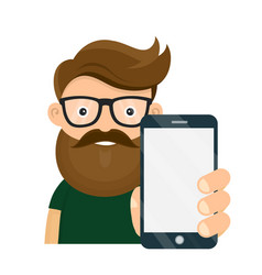 young hipster person holding smartphone vector image vector image