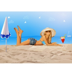 Young slim woman on beach vector