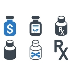 Drugs vial flat icons vector