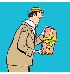 Retro man gives a gift vector