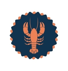 Stamp border with silhouette lobster vector