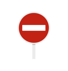 No entry traffic sign icon flat style vector
