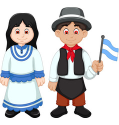 Cute couple argentina cartoon with national clothe vector