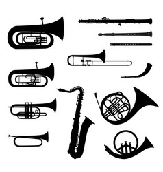 Music instruments set brass musical instrument vector