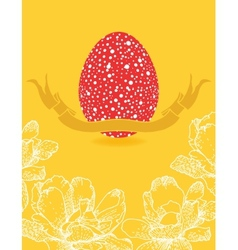 Easter card with flowers and red egg vector