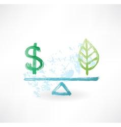 Dollar eco balance grunge icon vector image