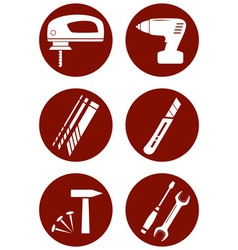 Set icons with construction tools vector