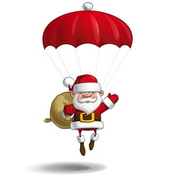 Happy santa parachute sack of gifts vector