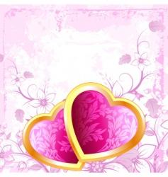 grunge Valentine's hearts vector image