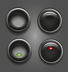 Black round button vector