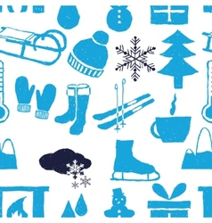 Doodle winter seamless pattern vector