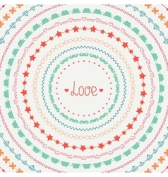 Hand drawn colorful line border frame set vector