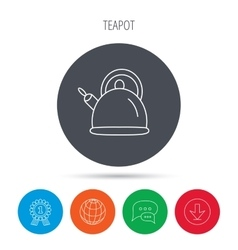 Teapot icon kitchen kettle sign vector
