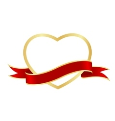 Heart frame ribbon vector