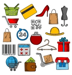 Shoppingretail and commerce icons vector