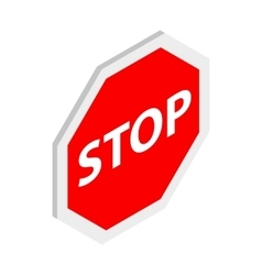Stop sign icon isometric 3d style vector