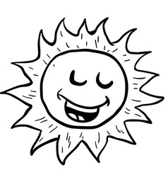 Black and white smiling sun vector