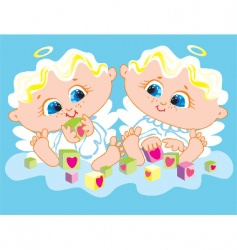 angels twins vector image vector image