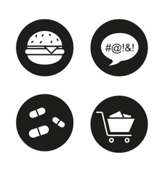 Bad habits black icons set vector