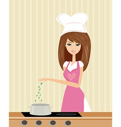 Beautiful lady cooking soup in the kitchen vector image