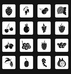 Berries icons set squares vector